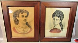 Lot Of 2 Antique Victorian Frames Mary And Minnie Currier Ives Print C1860s