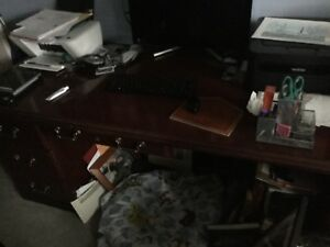 Solid Cherry Wood Executive Desk L Shape