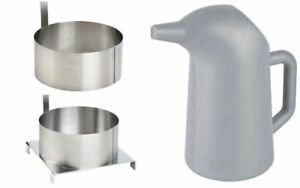 Funnel Cake 2 Qt 64 Oz Batter Pouring Pitcher 2 Stainless Steel 6 Mold Rings