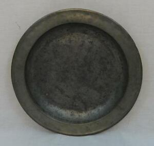 Early Antique English Pewter Charger Initialed H B And Numbered 1705