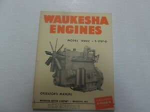 Waukesha Engines Models Wakc F 1197 g Operators Manual Factory Oem Dealership