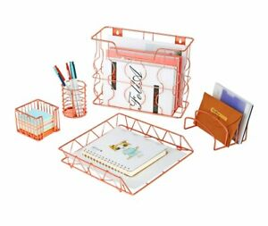 Pag Rose Gold Office Supplies 5 In 1 Metal Desk Organizer Set Hanging File
