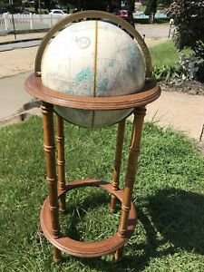 Vintage Cram S 12 Imperial World Globe On Wood Stand