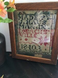 Antique Sampler Alphabet Piece Jacquard Wool Coverlet Possibly