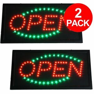 2 Pcs Bright Flashing Green red Led Open Store Business Sign Shop Neon Light Fy