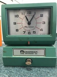 Acroprint Model 125 Analog Manual Print Time Clock With Month date 0 12 Hours m