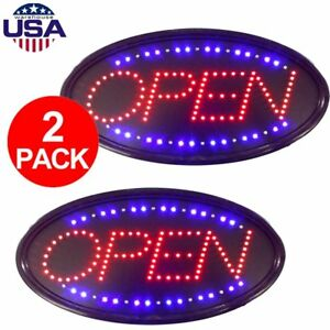 2 Pcs Bright Animated Led Open Store Shop Business Sign Neon Display Lights To