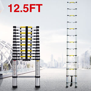 12 5ft Aluminium Ladder Telescoping Extension Multi purpose Folding Step Ladders