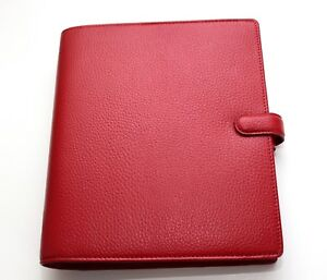 Filofax A5 Finsbury Red Pebbled Leather Binder Organizer 9 x 7 75 New C