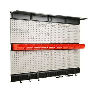 Pegboard Panel Wall Mounted Garage Storage Board Tool Organizer With Hooks Bins