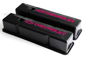 Sbc Black Steel Tall Valve Covers W Pink Chevrolet Logo 58 86 283 400 Chevy