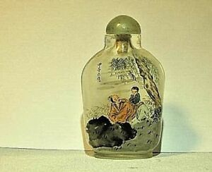 Antique Chinese Peking Glass Reverse Painted Snuff Bottle Signed Spoon