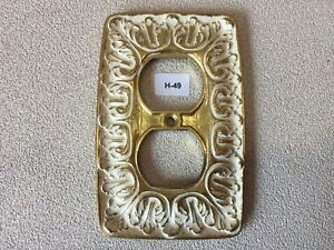 H 49 Mcm Vintage Ornate White Brass Double Outlet Cover