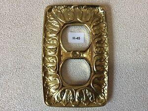 H 45 Mcm Vintage Ornate Gold Colored Brass Double Outlet Cover
