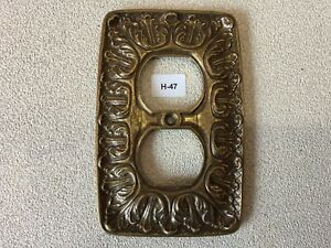 H 47 Mcm Vintage Ornate Brass Double Outlet Cover Baroque