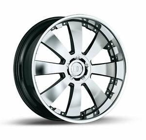 24x10 5x120 Demoda Concerto Brushed Face Black Forgiato Otto Style Rims 4