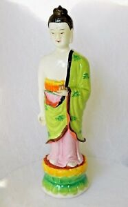 Chinese Guan Yin Statue Hand Painted Porcelain Famille Rose Lotus 13 Marks