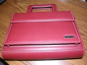 3125 Franklin Covey Zip Around Burgandy red Leather Planner Binder 1 5 7 Ring