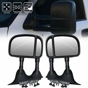 99 07 Ford F250 Super Duty Towing Mirrors Pair Black Power Manual Turn Signal