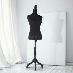 Female Mannequin Torso Dress Form With Wood Tripod Stand Pinnable Black E1k2