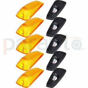 5x Cab Marker Roof Clearance Light Amber Lens Base Housing For 88 00 Chevy Gmc