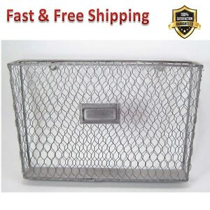 Liza Metal Single File Folder Holder Chicken Wire Off White Metal Rod Frame New