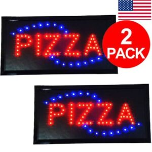 2 Pcs Ultra Bright Pizza Led Restaurant Bar Sign Neon Light 19x10 Inch Square To