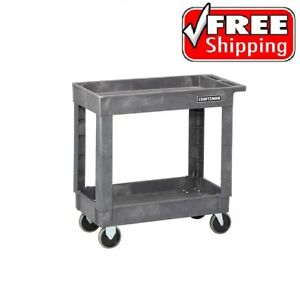Craftsman 2 Shelf Heavy Duty Utility Cart With Wheels For Tools Storage Workshop
