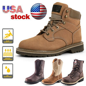 Mens Work Boots Safety Shoes Steel Toe Cap Lace Up Non slip Anti oil Waterproof