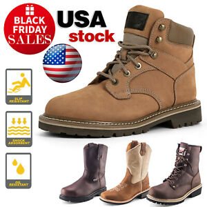Men s Steel Toe Work Boots Pull On Safety Genuine Leather Oil Resistant Brown