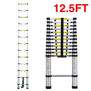 12 5 Telescopic Extension Aluminum Step Ladder Anti pinch Folding Multi Purpose