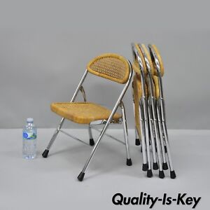 4 Vtg Childrens Childs Folding Chairs Cane Wicker Metal Mid Century Modern
