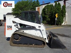 Bobcat T250 Track Skid Steer Loader Enclosed Cab Auxiliary Hydraulics