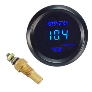 Hotsystem 2 52mm Blue Digital Water Temp Temperature Fahrenheit Gauge Car Meter