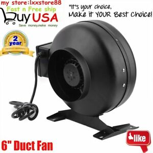 New 6 Fan Duct Blower 440 Cfm Hydroponics Vent Exhaust Air Cooled Hydroponic To