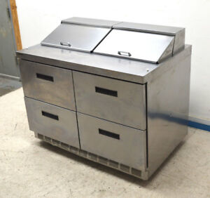 Delfield Manitowoc D4448n 12 48 Refrigerated Prep Table Sandwich Ss 4 drawers