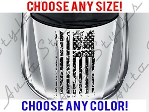 Car American Flag Hood Distressed Decal Vinyl Custom Jeep Any Size Any Color