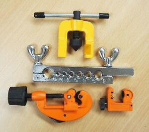 Double Flaring Tool Kit Brake Tubing Line Mini Pipe Cutters