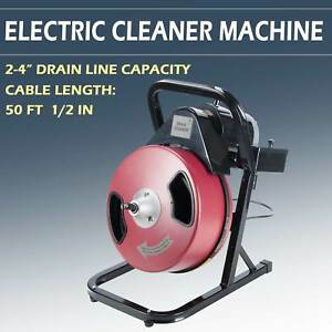 Electric Drain Cleaner Drum Auger Snake 1 2 Inch By 50 Feet