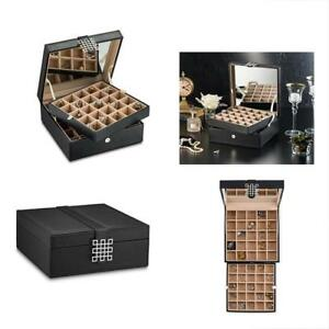 Jewelry Boxes Classic 50 section Earrings Organizer With Large Mirror Black
