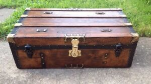Trunks N Treasures Beautiful Refinished Antique Flat Top Trunk Chest