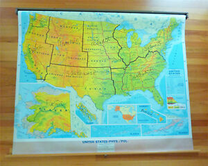 Vintage Pull Down Us Map States Cities Usa School Hanging Has Writing