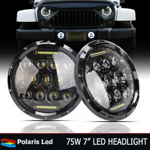 Pair 7 Inch Round Projector Led Black Headlights Hi lo Chevrolet C10 1977 1980