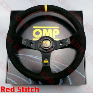 350mm 3 Spoke Corsica Deep Dish Black Suede Steering Wheel Omp 14 Red Stitch