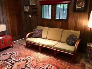 Vintage Bamboo Couch Sofa Rattan Mid Century 1950s