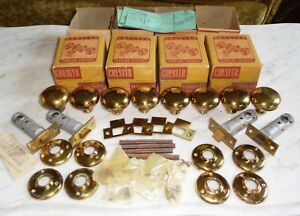 4 Complete Vintage Chesler Brass Door Knob Tubular Lock Set Sets Original Boxes