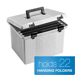Portable File Box Holds Up To 22 Letter sized Hanging Folders File Folder