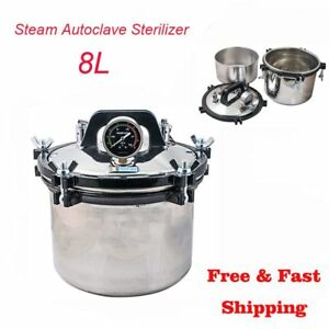 8l Steam Sterilizer High Pressure Autoclave Dental Equipment Dual Heating 110v