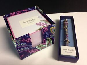 Vera Bradley Note Cube Ball Point Pen Batik Leaves New W Tags