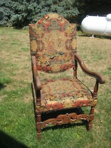 1880 S Antique French Carved Throne Arm Chair With Needlepoint Upholstery